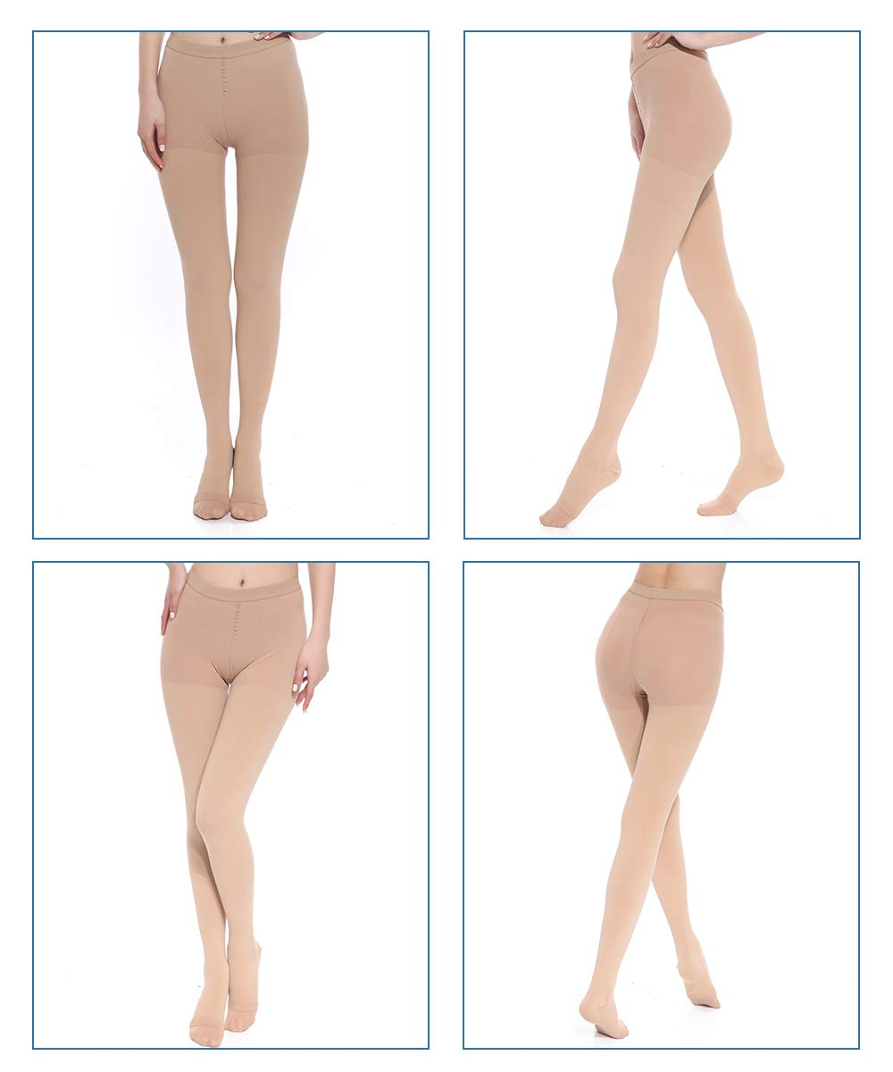 Medical Grade Compression Pantyhose (Close Toe) Women Men- Opaque Compression Stockings Pantyhose Support Patyhose Firm Graduated Support 20-30mmHg Helps Relieve Symptoms of Mild Varicose Veins by SKYFOXE (Image #3)