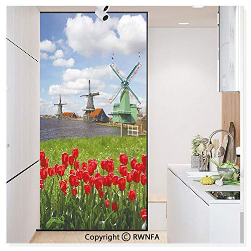 Window Glass Sticker Door Mural Traditional Dutch Windmills with Red Tulips in Amsterdam Scenic Field River Static Cling Privacy No Glue Film Home Decorative 11.8x59.8inch,Multicolor