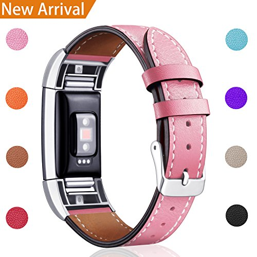 For Fitbit Charge 2 Replacement Bands, Hotodeal Classic Genuine Leather Wristband With Metal Connectors, Fitness Strap for Charge 2, Pink (Pink Leather Band)