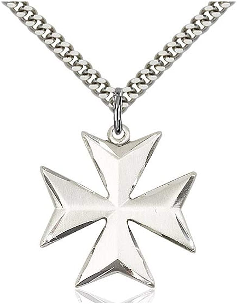 DiamondJewelryNY Sterling Silver Maltese Cross Pendant