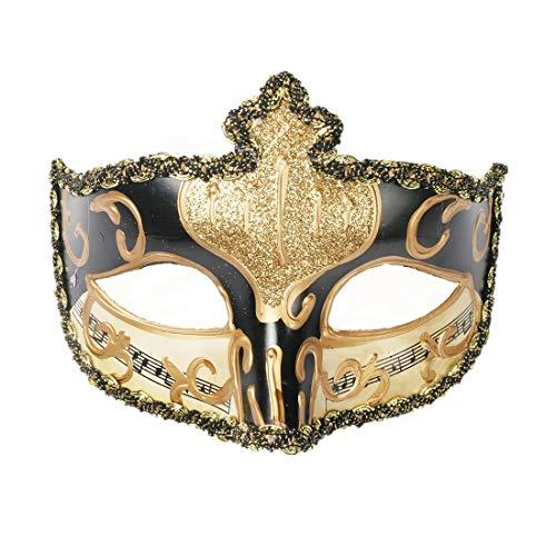 YUFENG Mardi Gras Half Masquerades Venetian Masks Costumes Party Accessory (gold mix black) -