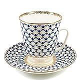 Imperial Porcelain - Cobalt Net Tea cup w/Saucer - 22k Gold, Porcelain