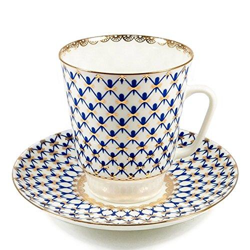 Imperial Porcelain - Cobalt Net Tea cup w/Saucer - 22k Gold, Porcelain ()