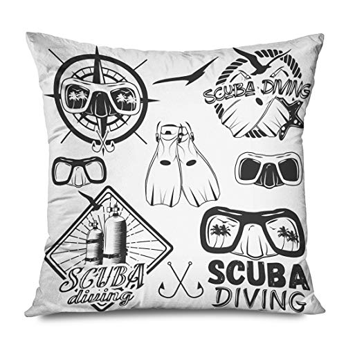 Underwater Rescue Cushion Pillow Cover Case Retro Vintage Bikini Octopus Diver