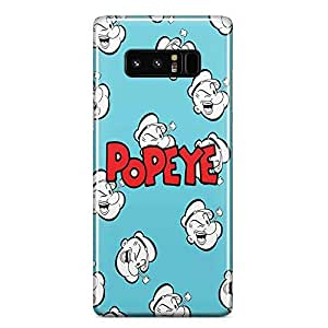 Loud Universe Popeye Face Pattern Samsung Note 8 Case Popeye The Sailor Man Samsung Note 8 Cover with 3d Wrap around Edges