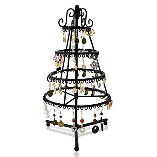 """VENKON - Drehbarer Schmuckständer """"Tannenbaum"""" für Aufbewahrung & Präsentation - Halsketten Ohrringe Armbänder etc. - schwarz - ca. 19 x 34 cm"""