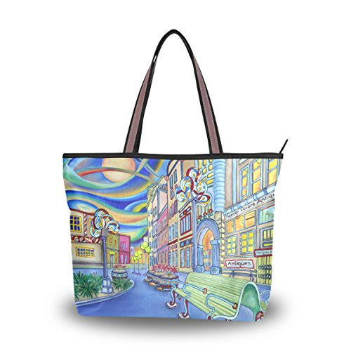 ALAZA Oil Painting Of Seattle Downtown Modern City Large Tote Top Handle Shoulder Bags Handbags for Women - Shopping Seattle Downtown