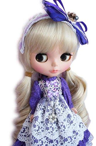 블라이스 1/6돌용 아웃 피트 복의상 보라색의 코튼 레이스 드레스 보증서 첨부 와 3점 세트