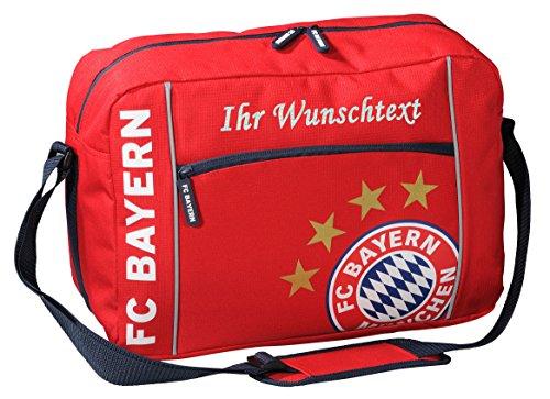 FC Bayern Schultertasche mit Ihrem Wunschtext in Ihrer Wunschfarbe (Glitzereffekt Silber)