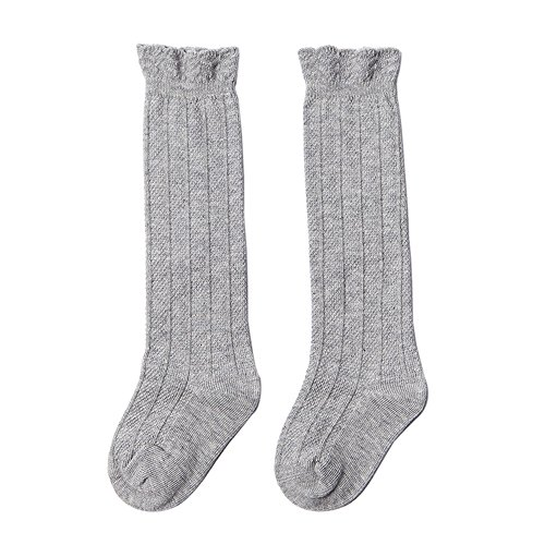 FQIAO Concise Cute Long Tube Cotton Socks Warm Soft Unisex Baby Socks Breathable Best Gift for Newborn And Baby -Gray M 1-3 Years]()