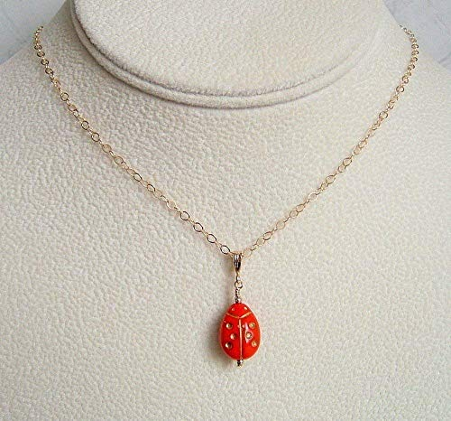 (Red Ladybug Czech Glass Jewelry Pendant 16 Inch Gold Filled Necklace Gift Idea )
