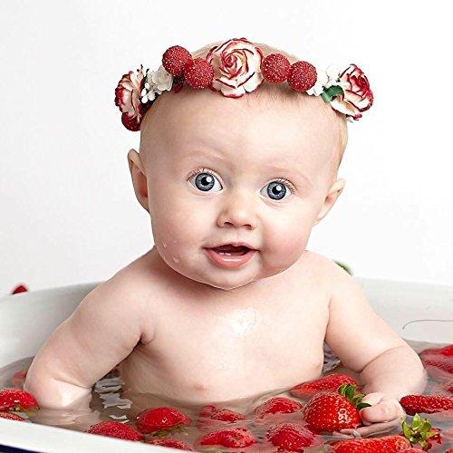 Amazon.com  Strawberry Flower Crown - Strawberry Birthday Headband -  Photoshoot Prop - Baby Flower Crown - Red White Flower Halo -Halloween  Flower Crown  ... 9cd914651ee