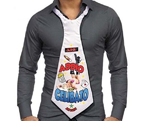 CRAVATTONE ADDIO AL CELIBATO - Maxi Cravatta Gadget idea regalo scherzo matrimonio per sposo