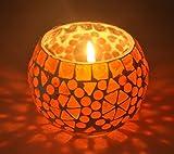 Handmade Diwali Decorative Diya Unique Glass Candle Holder 3 Inch Red Color