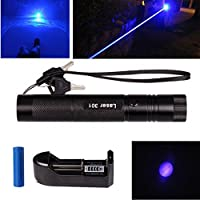 ZHCKyee High Power 405nm Blue Beam Laser Pointer Lazer Projector Flashlight Pen with One 18650 Battery and Charger