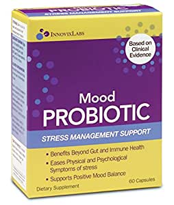 Mood PROBIOTIC (by InnovixLabs). The first probiotic formula clinically proven to ease physical and psychological symptoms of stress. 60 Capsules.