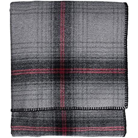Pendleton Grey Ombre Plaid Washable Eco Wise Wool Blanket King