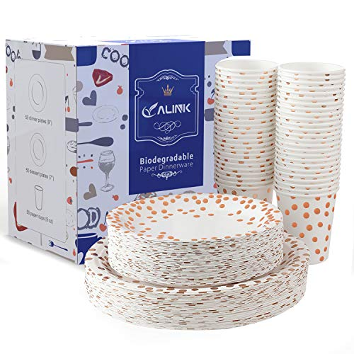 150PCS Plates Biodegradable Rose Gold Disposable Paper Cups Set Dinner Plates,