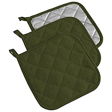 DII 100% Cotton, Machine Washable, Everyday Kitchen Basic  Terry Potholder Set of 3, Sage