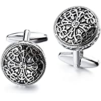 HAWSON Vintage Cufflinks and Tuxedo Shirt Studs for Men Retro Flower Pattern - Best Wedding Business Gifts for Men with Box