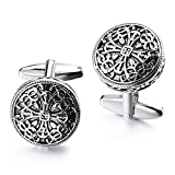 HAWSON Vintage Cufflinks for Men Shirt Retro Flower Pattern - Best Wedding Business Gifts for Men with Box