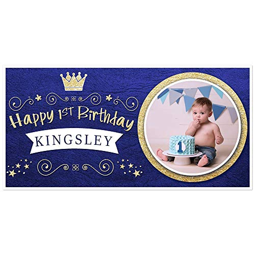 Personalized Photo Banner - Royal Blue and Gold Prince Crown Birthday Banner Personalized Photo Party Backdrop