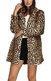 Women Warm Long Sleeve Parka Faux Fur Coat Overcoat Fluffy Top Jacket Leopard (US 10(Loose Style) / Asian XXL)