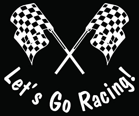LETS GO RACIN/' CHECKERED FLAG DECAL STICKER WINDOW