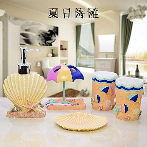 Resin 5PC Bath Accessory Sets- Decorative Lotion Dispenser/ Dish/ Tumbler/ Toothbrush Holder- Durable Accessories Set- Best Bathroom Decorating Ideas - Summer beach