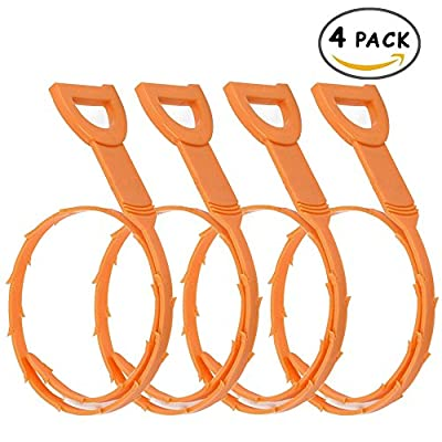 23.6 Inch Hair Drain Clog Remover, 4 Pack Reusable Drain Relief Auger Cleaning Tool for Clogged Drain(Orange)