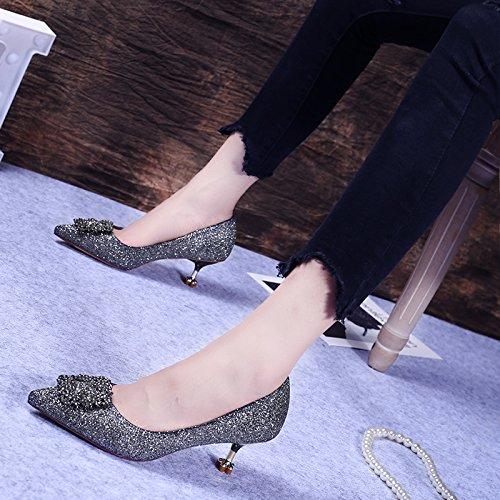 HBDLH Sposa scarpe Tacco Medio E Scarpe Casuali Di Gun A Alti Scarpe Scarpe A da donna Alto Scarpe bell'aspetto Con Tacchi color A Punta Fibbia Da 6Cm rSYxzqwSE