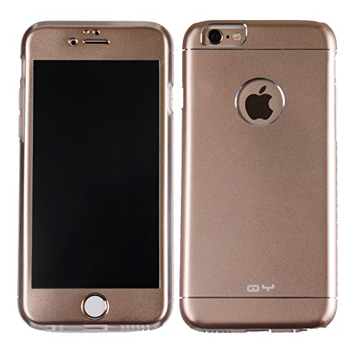 iPhone 6 Case(4.7 inches),[GOLD] [Screen Protect Skin + Metal Back Case] Aluminium Full Body Skin Metal+TPU Case Cover BulletProof Screen Protector For Apple iphone 6 4.7 inches (Gold)