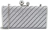 Womens Evening Clutch Purse with 2 Balls Clasp Large Hardcase Rhinestuds Clutch Bag Silver