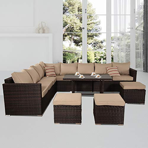 Leaptime Outdoor Furniture Patio Conversation Set Garden Seating Outside Couch Brown PE Wicker 9-Piece (Khaki)