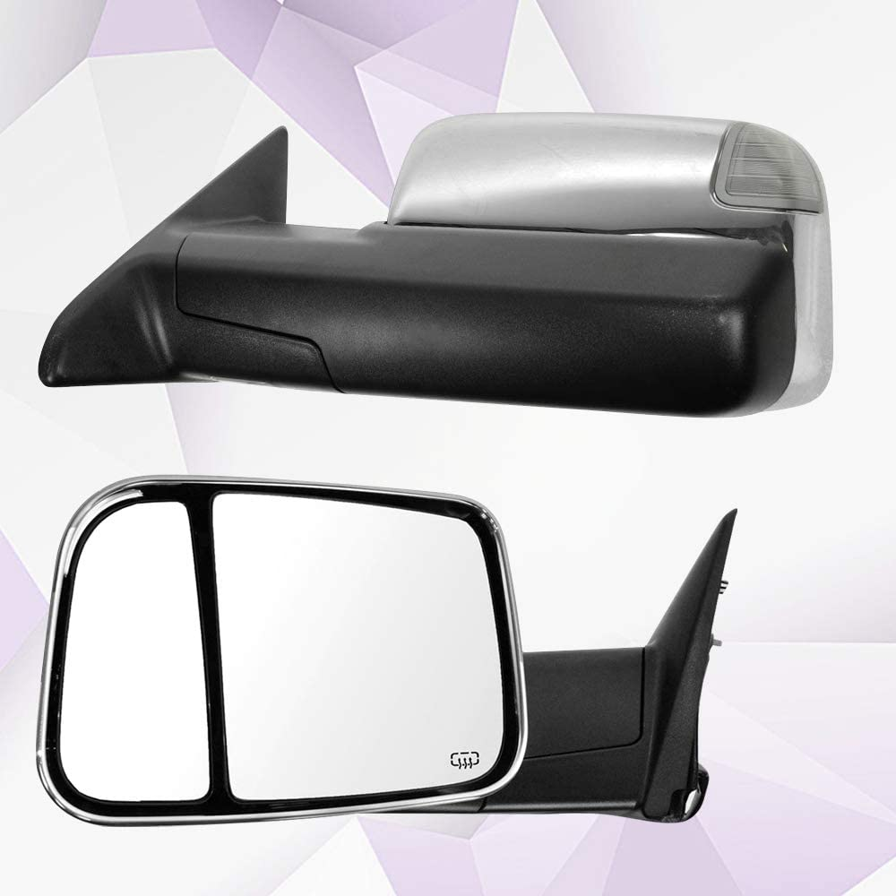ANPART Towing Mirrors Fit for 2011-2019 Dodge Ram 1500//2500//3500 Tow Mirrors With A Pair LH and RH Side Power Regulation with Heating Turn Signal Lamp Puddle Light Chrome