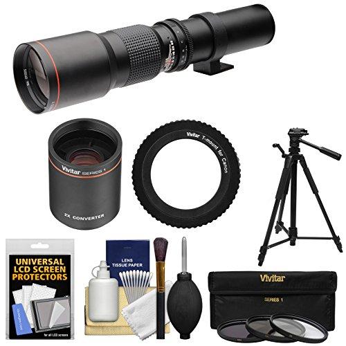 Telephoto Lens with 2x Teleconverter (=1000mm) + Tripod + 3 Filters Kit for Canon EOS 6D, 70D, 7D, 5DS, 5D Rebel T3, T3i, T5, T5i, T6i, T6s, SL1 Cameras ()
