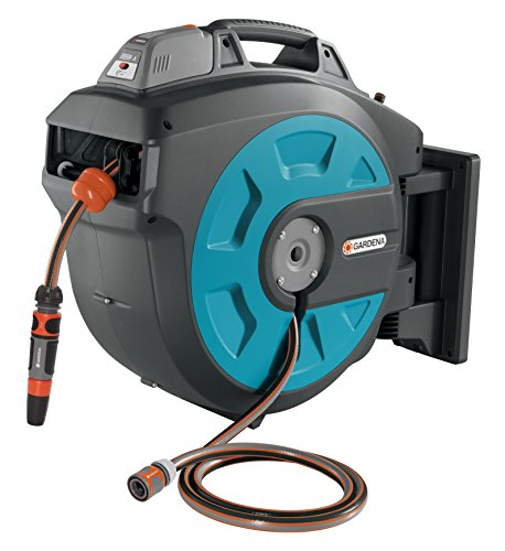 Gardena Wall - GARDENA Retractable Battery Operated Hose Reel 115-Feet With Convenient Hose Guide