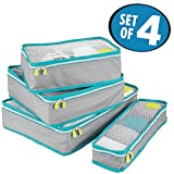 mDesign Versatile Travel Storage Organizer Cubes: Mesh Tops, Integrated Handles and Two-Way Zippers: Perfect for Packing Luggage/Suitcase and Carry-On, Set of 4, Gray/Teal Blue Trim, White Zipper