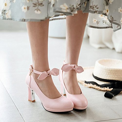 Carolbar Women's Sweet Fashion High Heel Bow Buckle Court Shoes Pink DihDLW70h