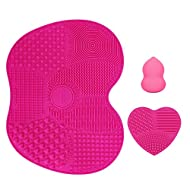 KEDSUM Silicone Makeup Brush Cleaning Mat, Makeup Brush Cleaner, Cosmetic Brush Cleaning Mat Portable Washing Tool Scrubber with Suction Cup