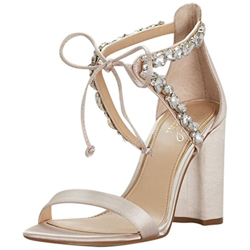 (David's Bridal Crystal-Embellished Ankle-Tie Block Heel Sandals Style JWTHAMAR, Champagne,)
