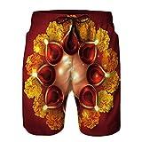 VROSELV Men's Swim Trunks,Vector Background of Diwali Diya Summer Swim Suits
