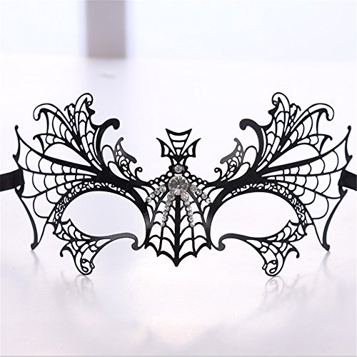 Mardi Gras Party Masquerade Mask,Venice Diamonds Half face Metal Iron mask Female Blind Date Halloween Makeup Dance Party Party Holiday Supplies Prom Masks