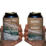 "VictoryStore Can and Beverage Coolers: Neoprene Customizable ""Sandy Toes And Salty Kisses"" Beach Wedding Can Coolers - 150pc"