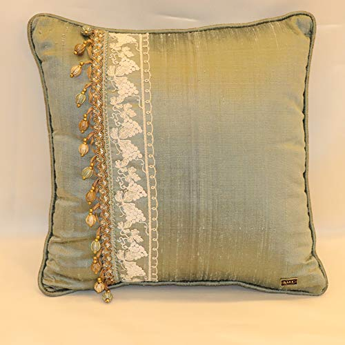 - Handmade 100% Silk Decorative Turquoise Blue and Brussels Lace Throw Pillow. 16
