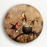 Cheap Hummingbirds and Their Nest 12″ Silent Wall Clock