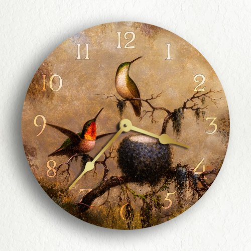 Hummingbirds and Their Nest 12 Silent Wall Clock