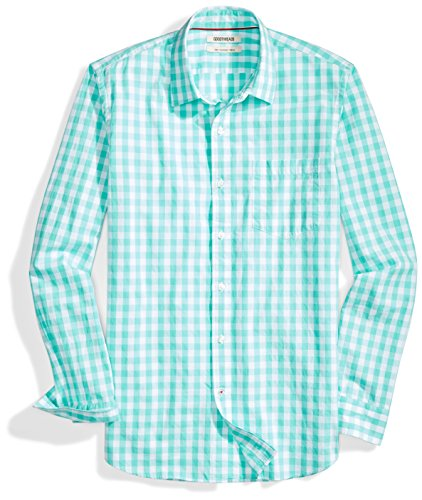 Goodthreads Men's Slim-Fit Long-Sleeve Gingham Plaid Poplin Shirt, Green/white, Medium