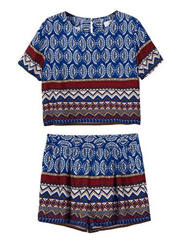 Choies Women's Tribal Print Short Sets Crop Top and Shorts Outfits S