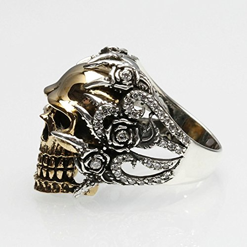 Bishilin Men's Rings Silver Plated Skull Partner Rings Silver Size 12 by Bishilin (Image #2)